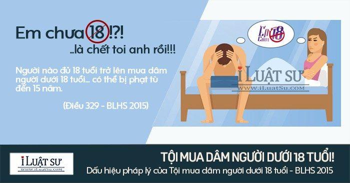 Dấu hiệu pháp lý của Tội mua dâm người dưới 18 tuổi