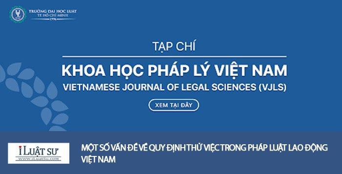Một số vấn đề về quy định thử việc trong Pháp luật lao động Việt Nam