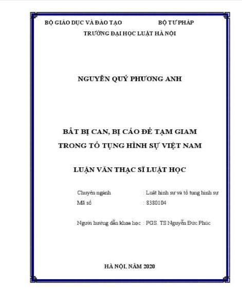 [Luận văn] Bắt bị can, bị cáo để tạm giam trong tố tụng hình sự Việt Nam